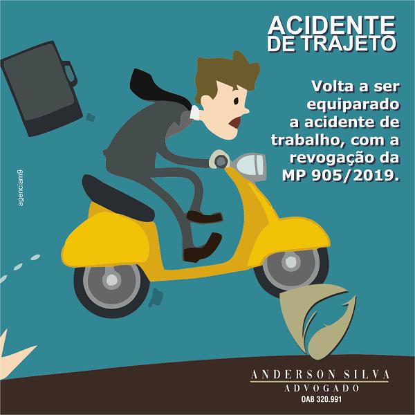 Acide de Trajeto Volta a ser equiparado a acidente de trabalho, com a revogação da MP 905/2019.